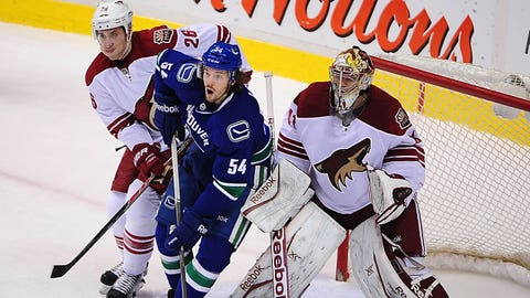 Jan 26, 2014; Vancouver, British Columbia, CAN; Vancouver Canucks forward Kellan Lain (54) is defended by Phoenix Coyotes defenseman Michael Ston  (26) and goaltender Mike Smith (41) during the second period at Rogers Arena. Mandatory Credit: Anne-Marie Sorvin-USA TODAY Sports