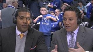 Dancing kid photobombs broadcast crew, checks out cheerleaders
