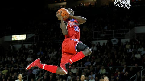 Feb 4, 2014; Providence, RI, USA; St. John's Red Storm guard Sir'Dominic Pointer (15) dunks the ball to end the first half against the Providence Friars at the Dunkin' Donuts Center. Mandatory Credit: Stew Milne-USA TODAY Sports