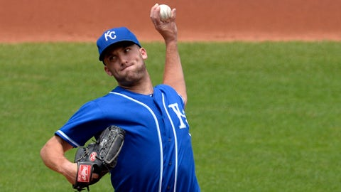 Jul 6, 2014; Cleveland, OH, USA; Kansas City Royals starting pitcher Danny Duffy (41) delivers in the second inning against the Cleveland Indians at Progressive Field. Mandatory Credit: David Richard-USA TODAY Sports