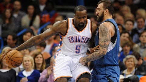 Jan 26, 2015; Oklahoma City, OK, USA;  Oklahoma City Thunder center Kendrick Perkins (5) dribbles the ball as Minnesota Timberwolves center Nikola Pekovic (14) defends during the second quarter at Chesapeake Energy Arena. Mandatory Credit: Mark D. Smith-USA TODAY Sports