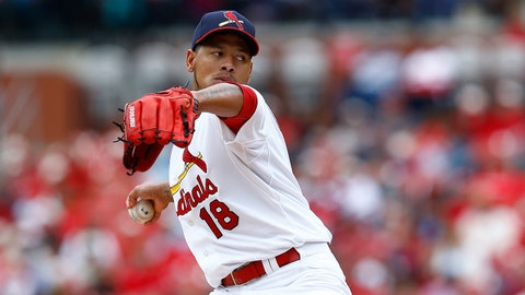 St. Louis Cardinals starting pitcher Carlos Martinez throws during the first inning of a baseball game against the Los Angeles Dodgers, Sunday, May 31, 2015, in St. Louis. (AP Photo/Billy Hurst)