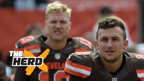 Sep 27, 2015; Cleveland, OH, USA; Cleveland Browns quarterbacks Johnny Manziel (2) and Josh McCown (13) stretch before a NFL game against the Oakland Raiders at FirstEnergy Stadium. Mandatory Credit: Kirby Lee-USA TODAY Sports