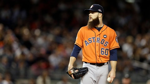 Oct 6, 2015; Bronx, NY, USA; Houston Astros starting pitcher Dallas Keuchel (60) looks for the sign against the New York Yankees during the first inning in the American League Wild Card playoff baseball game at Yankee Stadium. Mandatory Credit: Adam Hunger-USA TODAY Sports