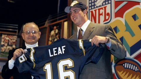 1998: QB Ryan Leaf, Chargers (2nd overall)