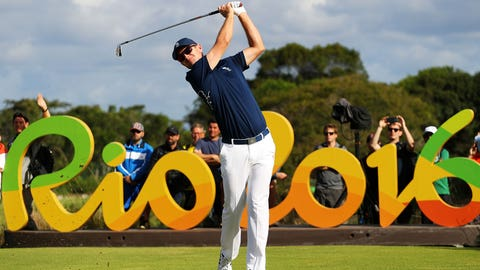 RIO DE JANEIRO, BRAZIL - AUGUST 11: Justin Rose of Great Britain plays his shot from the 16th tee during the first round of men's golf on Day 6 of the Rio 2016 Olympics at the Olympic Golf Course on August 12, 2016 in Rio de Janeiro, Brazil. (Photo by Scott Halleran/Getty Images)