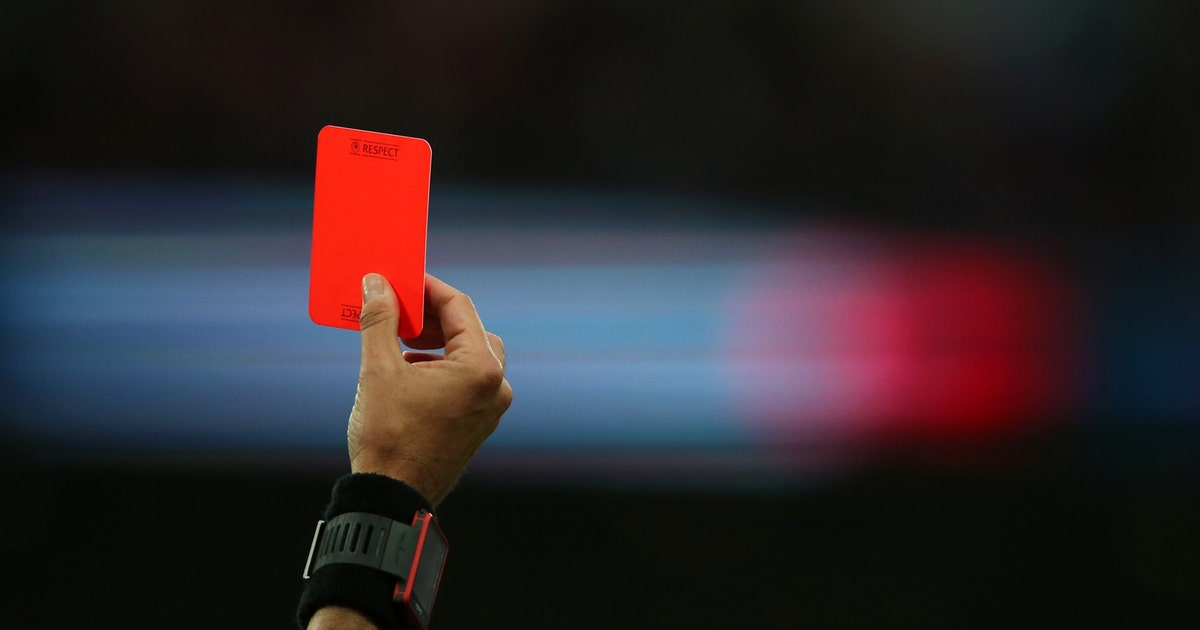 A goalkeeper got a red card for taking a pee break behind ...