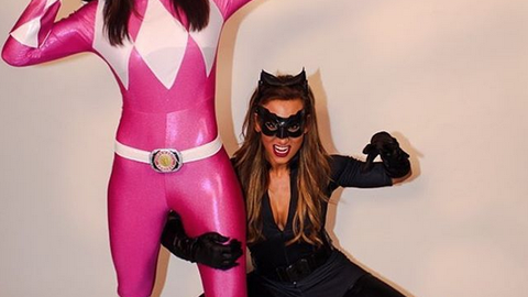 Bayley and Carmella as the pink Power Ranger and Catwoman