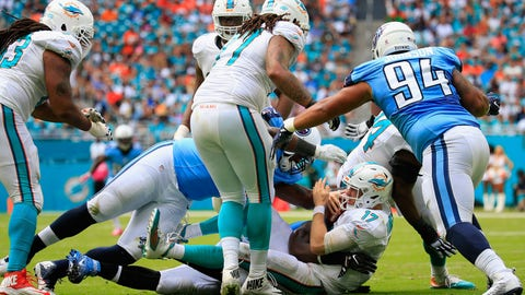 The Miami Dolphins offensive line gets steamrolled