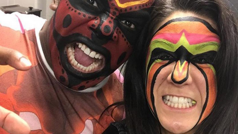 Xavier Woods and Bayley as the Boogeyman and The Ultimate Warrior