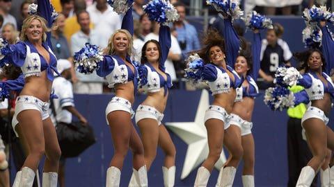 The Dallas Cowboys cheerleaders vs. no cheerleaders