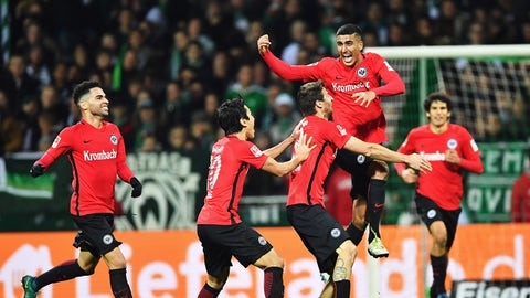 BREMEN, GERMANY - NOVEMBER 20:Aymane Barkok  of Frankfurt celebrates scoring his goal during the Bundesliga match between Werder Bremen and Eintracht Frankfurt at Weserstadion on November 20, 2016 in Bremen, Germany.  (Photo by Stuart Franklin/Bongarts/Getty Images)