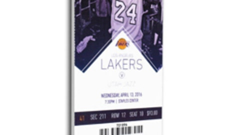 A large replica ticket from Kobe Bryant's final game