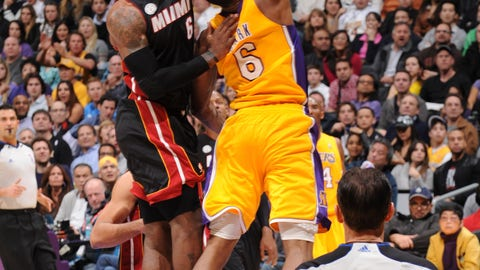 LeBron James chases Earl Clark up the mountain