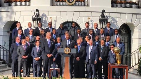 Obama congratulating the team