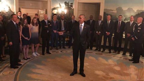 President Obama holding court