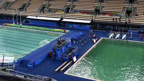 The Olympic diving pool turns green