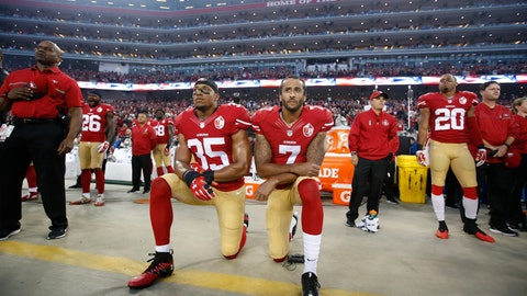 Colin Kaepernick protests the national anthem