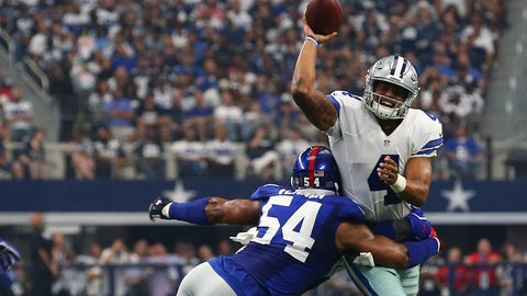 Dallas Cowboys at New York Giants, 8:30 p.m. NBC