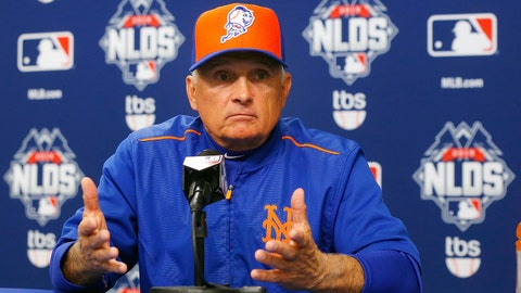 NEW YORK, NY - OCTOBER 12: (NEW YORK DAILIES OUT) Manager Terry Collins #10 of the New York Mets speaks to the media before game three of the National League Division Series against the Los Angeles Dodgers at Citi Field on October 12, 2015 in the Flushing neighborhood of the Queens borough of New York City. The Mets defeated the Dodgers 13-7. (Photo by Jim McIsaac/Getty Images)
