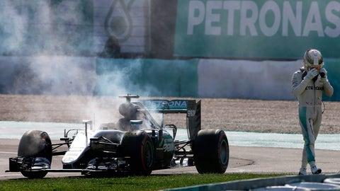 7. Lewis Hamilton's fire in Malaysia