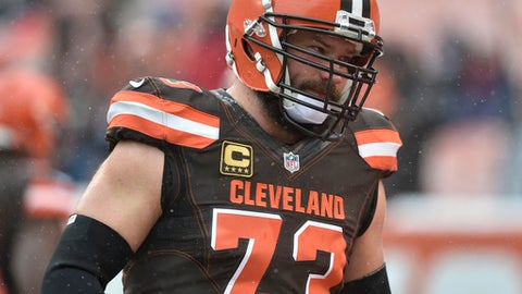FILE - In this Dec. 11, 2016, file photo, Cleveland Browns tackle Joe Thomas walks on the field before an NFL game against the Cincinnati Bengals, in Cleveland. That giant zero hanging over the Browns right now might as well be a bullseye.Nobody wants to lose to the NFL's only winless squad. (AP Photo/David Richard, File)