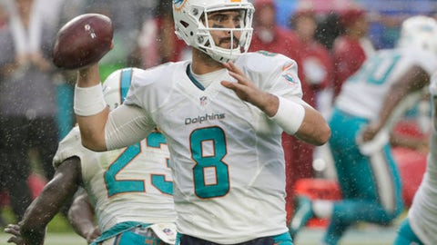 FILE - In this Sunday, Dec. 11, 2016 file photo, Miami Dolphins quarterback Matt Moore (8) looks to pass, during the second half of an NFL football game against the Arizona Cardinals in Miami Gardens, Fla. Matt Moore last started an NFL game in the 2011 season finale, when the Miami Dolphins beat the New York Jets and Todd Bowles was his coach. Well, Bowles is on the other sideline now, and the veteran quarterback is stepping in for Ryan Tannehill on Saturday night, Dec. 17, 2016 at MetLife Stadium when the AFC East rivals meet for the second time this season.(AP Photo/Wilfredo Lee, File)