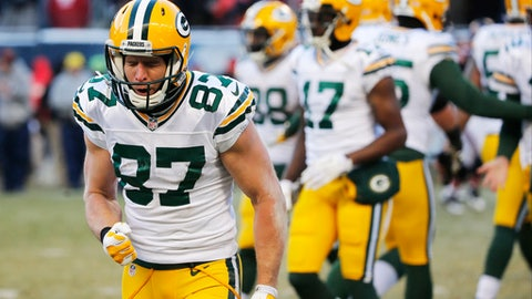 Green Bay Packers receiver Jordy Nelson (87) reacts after making a pass reception during the second half of an NFL football game against the Chicago Bears, Sunday, Dec. 18, 2016, in Chicago. The Packers won 30-27. (AP Photo/Charles Rex Arbogast)