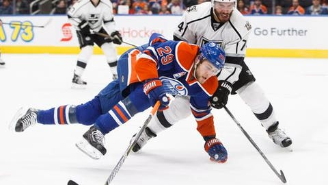 Los Angeles Kings' Dwight King (74) checks Edmonton Oilers' Leon Draisaitl (29) during the second period of an NHL hockey game in Edmonton, Alberta, Thursday, Dec. 29, 2016.  (Jason Franson/The Canadian Press via AP)