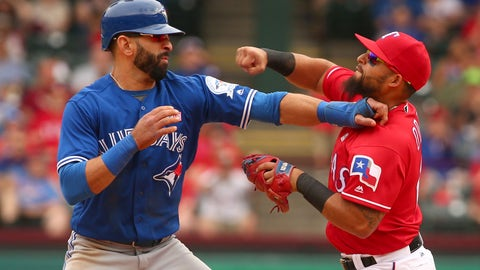 Rougned Odor clocks Jose Bautista