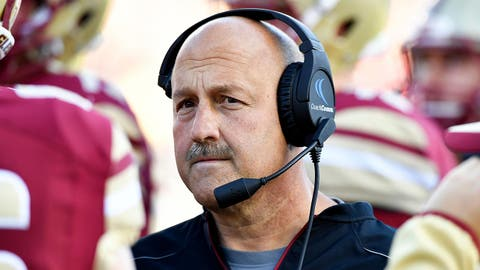 Nov 19, 2016; Boston, MA, USA; Boston College Eagles head coach Steve Addazio looks on during the first half against the Connecticut Huskies at Alumni Stadium. Mandatory Credit: Brian Fluharty-USA TODAY Sports