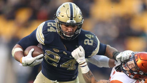 Nov 26, 2016; Pittsburgh, PA, USA;  Pittsburgh Panthers running back James Conner (24) stiff arms Syracuse Orange defensive back Rodney Williams (6) on a carry during the fourth quarter at Heinz Field. PITT won 76-61. Mandatory Credit: Charles LeClaire-USA TODAY Sports