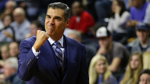 PHILADELPHIA, PA - NOVEMBER 29: Head coach Jay Wright of the Villanova Wildcats reacts during a game against the Penn Quakers at The Palestra on the campus of the University of Pennsylvania on November 29, 2016 in Philadelphia, Pennsylvania. Villanova defeated Penn 82-57. (Photo by Hunter Martin/Getty Images)