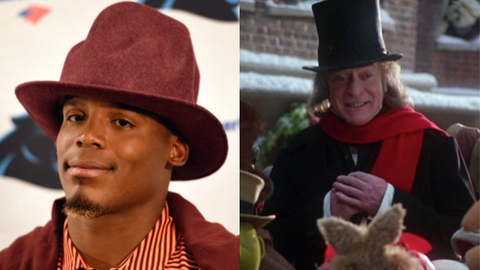 "Cam Newton and Scrooge from ""The Muppet Christmas Carol"""