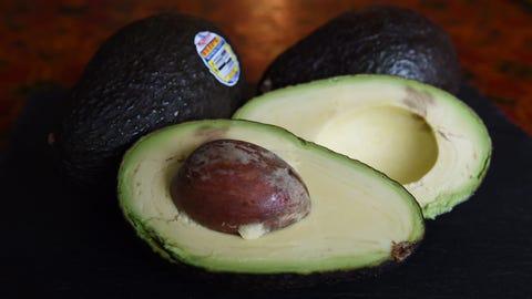 The inside of an avocado