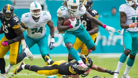 Dolphins RB Jay Ajayi running wild in the first of his three 200-plus yard rushing efforts
