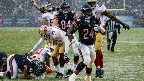 Bears rookie Jordan Howard finds paydirt on a snowy day at Soldier Field