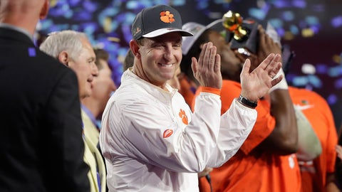 GLENDALE, AZ - DECEMBER 31: Head coach Dabo Swinney of the Clemson Tigers reacts after the Clemson Tigers beat the Ohio State Buckeyes 31-0 to win the 2016 PlayStation Fiesta Bowl at University of Phoenix Stadium on December 31, 2016 in Glendale, Arizona.  (Photo by Jamie Squire/Getty Images)