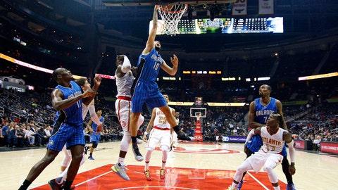 Dec 13, 2016; Atlanta, GA, USA; Orlando Magic guard Evan Fournier (10) dunks against the Atlanta Hawks in the second half at Philips Arena. The Magic won 131-120. Mandatory Credit: Brett Davis-USA TODAY Sports
