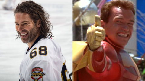 "Jaromir Jagr and Turbo Man from ""Jingle All the Way"""
