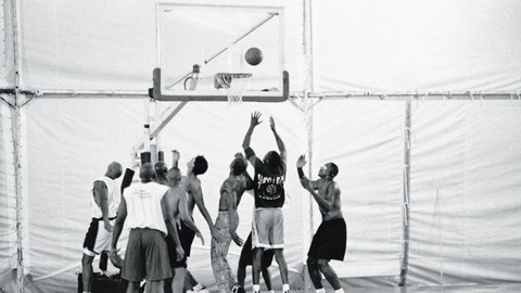A shot of one of the basketball games — that looks like Horace Grant on the right