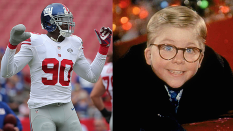 "Jason Pierre-Paul and Ralphie from ""A Christmas Story"""