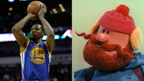 "Kevin Durant and Yukon Cornelius from ""Rudolph the Red-Nosed Reindeer"""