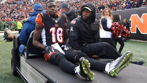 CINCINNATI, OH - NOVEMBER 20:  A.J. Green #18 of the Cincinnati Bengals gets carted off of the field after being injured during the first quarter of the game against the Buffalo Bills at Paul Brown Stadium on November 20, 2016 in Cincinnati, Ohio. (Photo by John Grieshop/Getty Images)