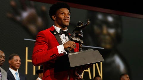 Dec 10, 2016; New York, NY, USA; Lamar Jackson from the University of Louisville wins the Heisman Trophy at Playstation Theater. Mandatory Credit: Todd J. Van Emst/Heisman Trust via USA TODAY Sports