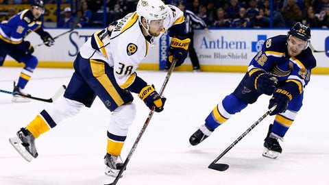 Nashville Predators' Viktor Arvidsson, left, of Sweden, shoots the puck as he is pressured by St. Louis Blues' Kevin Shattenkirk during the first period of an NHL hockey game Friday, Dec. 30, 2016, in St. Louis. (AP Photo/Billy Hurst)