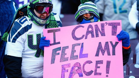An NFC Divisional Round sign brought to you by a Weeknd fan (who was very, very cold)
