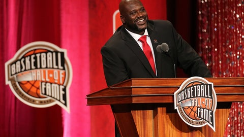 Shaquille O'Neal was all smiles as he was inducted into the Basketball Hall of Fame