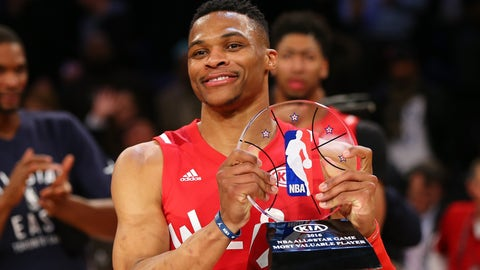 Russell Westbrook took home MVP honors at the All-Star Game for the second straight season