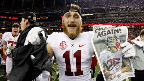 Dec 3, 2016; Atlanta, GA, USA; Alabama Crimson Tide wide receiver Gehrig Dieter (11) celebrates after the SEC Championship college football game against the Florida Gators at Georgia Dome. Alabama Crimson Tide won 54-16. Mandatory Credit: Brett Davis-USA TODAY Sports